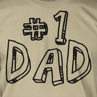Number One 1 Dad Screen Printed T-Shirt Tee Shirt T Shirt Mens Funny Christmas Gift Fathers Day Present
