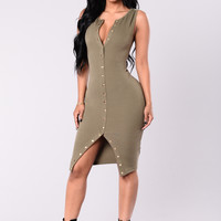 When You Come Around Dress - Olive