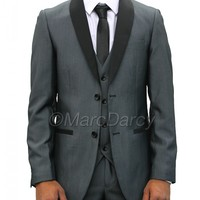 Mens Grey Tuxedo Style Three Piece Suit Ideal for Weddings