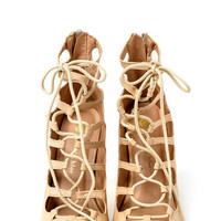 Uptown Nude Lace Up Heel