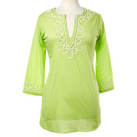 Rope Embroidered Tunic, Green, Pajamas
