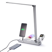 LED Desk Lamp,Multifunctional Charging Dock Wireless Charger Watch Stand for iphone Charging Stand with 2 Charging Ports