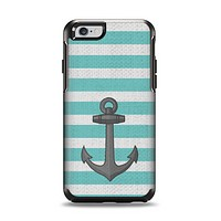 The Teal Stripes with Gray Nautical Anchor Apple iPhone 6 Otterbox Symmetry Case Skin Set