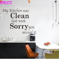 Hot Sale  My Kitchen Was Clean Quote Word Kitchen Decor Black Removable Wall Sticker Decal  SM6
