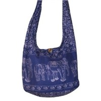 Hippie Elephant Sling Crossbody Bag Shoulder Bag Purse Thai Top Zip Handmade New Color : Blue Free shipping