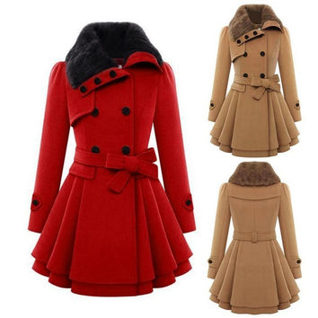 2015 New Winter Coat Women Fashion Double Breasted Thicken Slim Long Style Wool Blends Coats With Belt = 1932468868