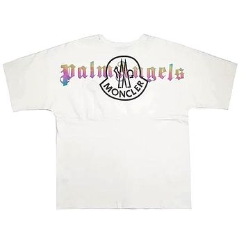 MONCLER 2019 new reflective color-changing printed round neck short-sleeved T-shirt white