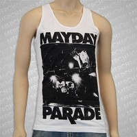 Upstage White Tank Top : Mayday Parade