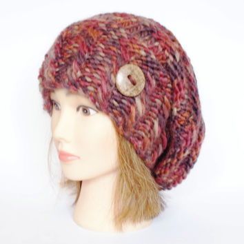 Slouchy beanie hat multi-colored slouch hats beanies autumn colors accessory women chunky knitted hat irish handknit hats wool with button