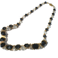 Vintage Czech Necklace with Black & White Glass Beads with Brass Gear Spacers in Quirky Formal Style - Vintage Costume Jewelry 30s
