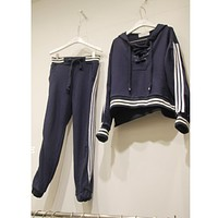 Fashion Casual Hooded Stripe Knotted Edgy Sportswear