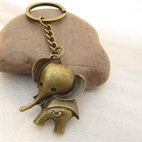 ON SALE--The elephant keychain animal key ring with charm chain jewelry personalized jewelry steampunk Unique gift