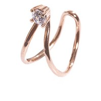 White topaz & rose gold-plated earcuff