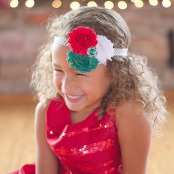 Christmas Headband for Girls - Baby Christmas Head Band - Holiday Headband Photo Prop - Red, Green, and White Flower Boutique Head Band