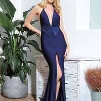 Sexy Navy Deep V-Neck Open Back Bodycon Formal Evening Dress