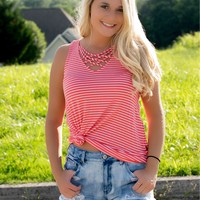 Lucky Charm Striped Tank- Coral