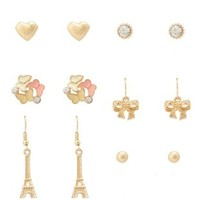 Pale Peach Butterfly & Paris Earrings - 6 Pack by Charlotte Russe