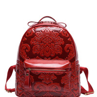 Flower Embossed Backpack - Red