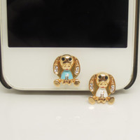 1PC Bling Crystal Cute Dog  Alloy Cell Phone Home Button Sticker Charm for iPhone 4s,4g,5,5c Valentine Gift for men or lady