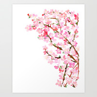 Watercolor Cherry Blossoms Art Print by Yao Cheng Design