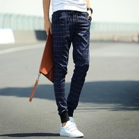 Korean Men Slim Plaid Pants Men's Fashion Skinny Pants [6539650819]