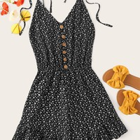 Ditsy Floral Button Front Cami Playsuit