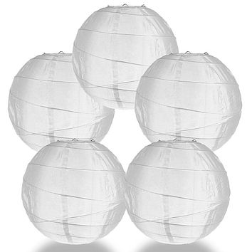 "BULK PACK (5) 14"" Irregular Ribbed White Shimmering Nylon Lantern, Durable, Hanging"