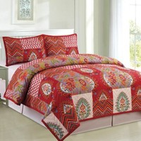 COMPASS 3 Piece Kantha Embroidered Quilt Coverlet Set, Multicolor, King