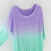 A 081904 u Colorful gradient hollow pullover sweater