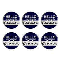 Cannon Hello My Name Is Plastic Resin Button Set of 6