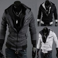 Hoodies Men Stylish Zippers Long Sleeve Jacket [6528702275]