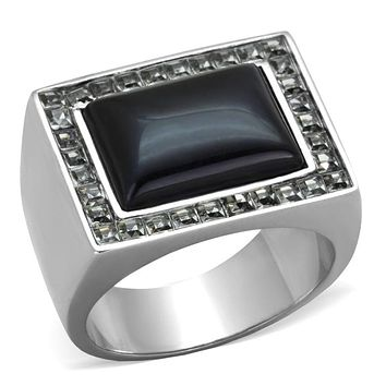 Mens Fashion Rings TK2065 Stainless Steel Ring with Synthetic