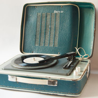 Soviet vintage portable record player - 3 speed rare record player - retro, teal player