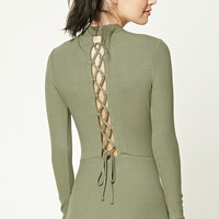 Ribbed Lace-Up Back Dress