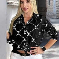 LV Louis Vuitton New fashion letter print long sleeve top shirt women Black