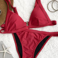 Cupshe Stroke of Luck Solid Color Bikini Set