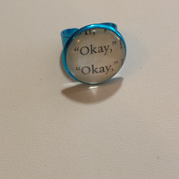 "The Fault in Our Stars ""Okay, okayl"" Charm ring made using an Actual Book Page"