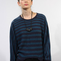 Navy Striped Pointelle Sweater