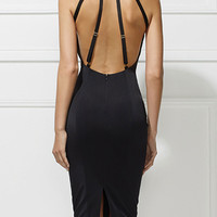 Black Halter Strappy Back Split Detail Bodycon Dress