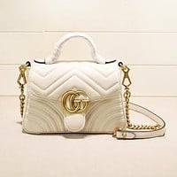 GUCCI New fashion leather shoulder bag women White