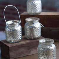 Hanging Hobnail Mercury Glass Votive Holder with Wire Hanger.