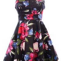 Ixia Betsey Vintage Floral Fold Over Pinup Dress