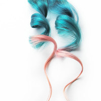 Human Hair Extension, Spring hair, extension, blue, pink, peach clip in hair, Tie Dye Colored Hair - Nymph