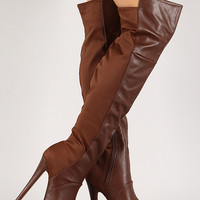 Mixed Media Chunky Platform Stiletto Thigh High Boot