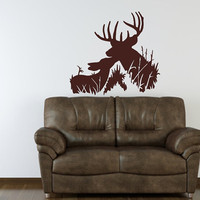Wall Decal Deer Buck and Fawn Style H Vinyl Wall Decal 22333