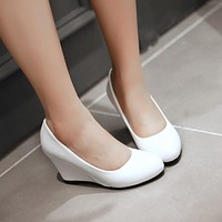 Patent Leather Round Toe Women Wedges Platform Shoes