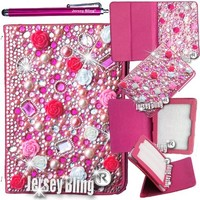 """Jersey Bling® BLING Universal Kindle Fire 7"""" HD 1st & 2ND GEN, HDX, NON-HD, Crystal and Rhinestone Faux Leather Case with Built-In Stand, FREE Stylus (3D HOT PINK Rose)"""