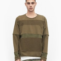 Half Reversed Terry Panel Sweater in Olive-Brown