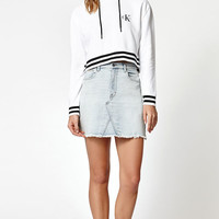 Calvin Klein Striped Ribbed Cropped Pullover Hoodie at PacSun.com