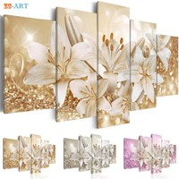 Wealth and Luxury Golden Lilies Flowers Prints Canvas Painting 5 Panel Pink and Sliver Blossom Poster Modern Wall Art Home Decor